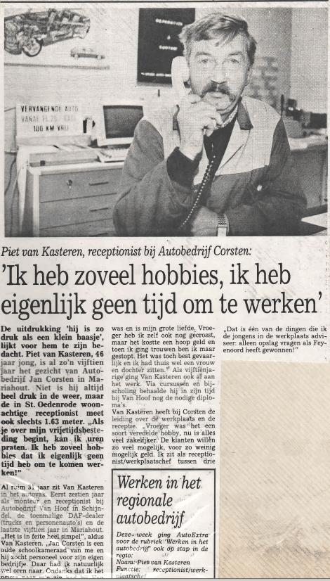 Krantenartikel Piet van Kasteren